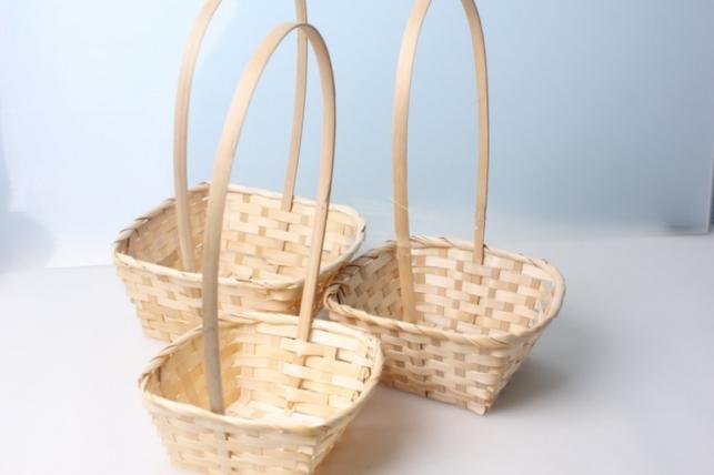 Набор корзин (3шт) плетеные (бамбук) квадрат натуральные 3876
