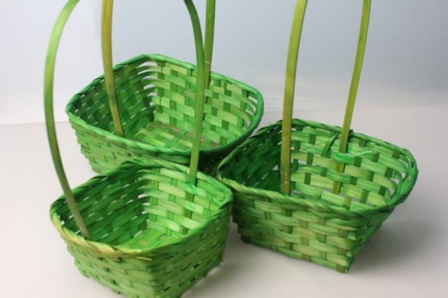 Набор корзин (3шт) плетеные (бамбук) квадрат зеленые 3869