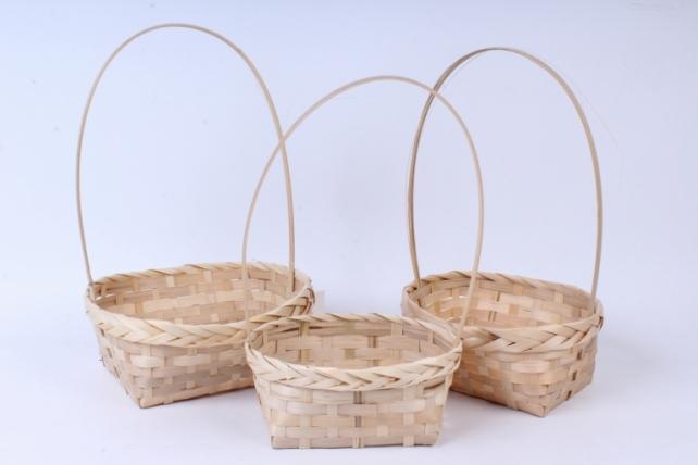 Набор корзин (бамбук) из 3-х шт Круг  натуральный  0770