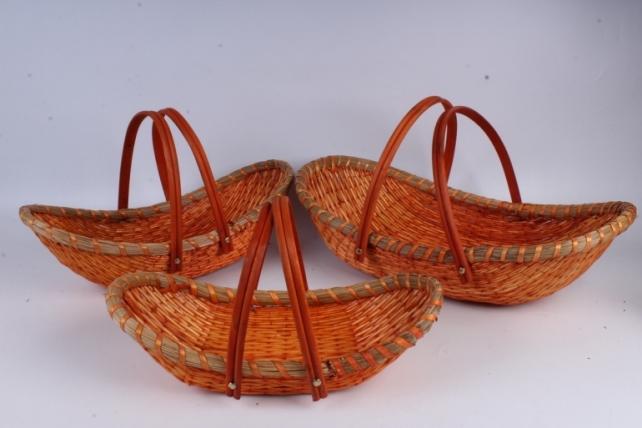 Набор корзин (ива) из 3шт - Ладья с 2-мя ручками оранжевая 53x29, h=12/30см  КС-828