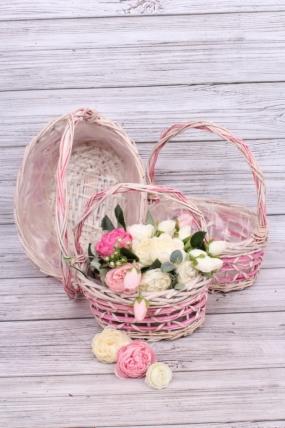 Набор корзин ива 3шт - Овал розовый 33*26/27*20/H14*HH36    6069Н