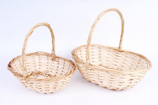 Набор корзин (из 2 шт) плетеных (ива) Овал натуральный    КС-094/2