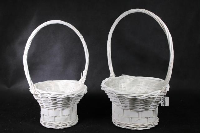 Набор корзин (из 2шт) плетеных (ива) Цветочная белая J13545