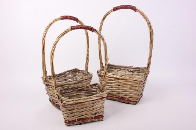 Набор корзин (из 3шт) плетеных (ива)  7088