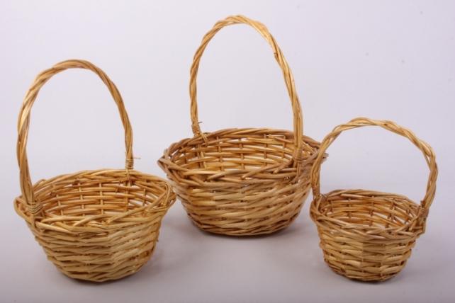 Набор корзин медовых (из 3шт) плетеных (ива) Круг   КС-042