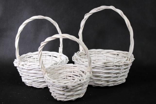 Набор корзин (из 3шт) плетеных (ива) Круг белый КС-043