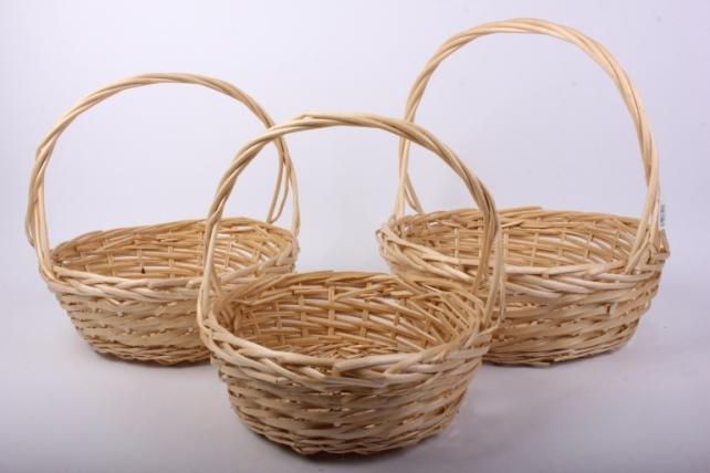 Набор корзин (из 3шт) плетеных (ива) Круг  H12068