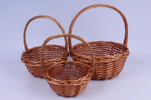 Набор корзин (из 3шт) плетеных (ива) Круг медовый  КС-378 (1308)