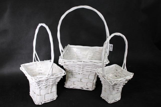 Набор корзин (из 3шт) плетеных (ива) Квадрат белый  H336