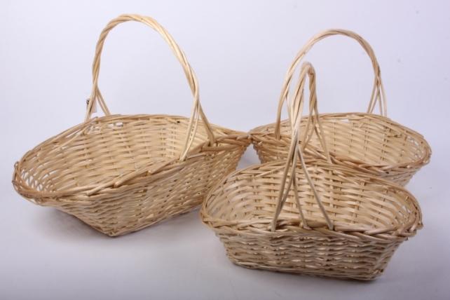 Набор корзин (из 3шт) плетеных (ива) Овал-прямоугольный   J12515