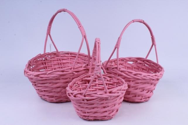 Набор корзин (из 3шт) плетеных (ива) Овал розовый  J13549