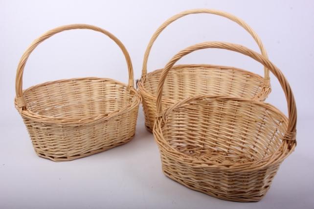 Набор корзин (из 3шт) плетеных (ива) Овал скос   H378