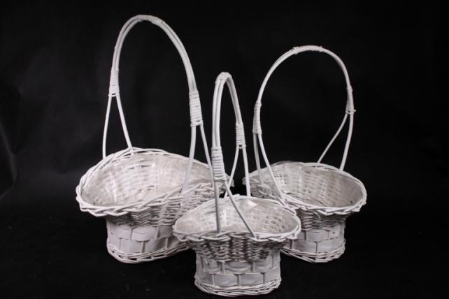 Набор корзин (из 3шт) плетеных (ива) Шляпа белая J13002