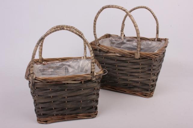 Набор корзин из ивы 2 шт  - Сумка с ручками серая    1401