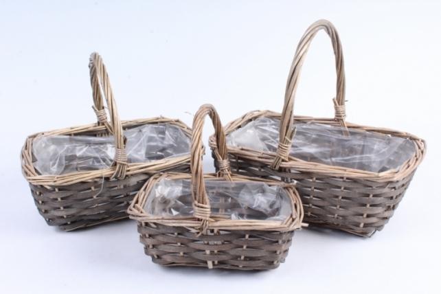 Набор корзин (из 3шт) плетеных (ива) -  1388