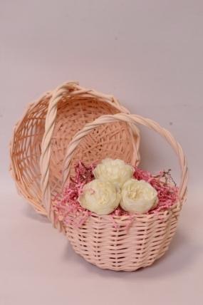 Набор корзин (из 2шт) плетеных (ива) - Круг, персиковый D24*13/26 см, D18*11/23 см 6472Н