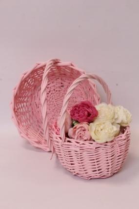 Набор корзин (из 2шт) плетеных (ива) - Круг, розовый D24*13/26 см, D18*11/23 см 6465Н