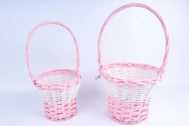 Набор корзин (из 2шт) плетеных (ива) Цветочная бело/розовая    КС-096