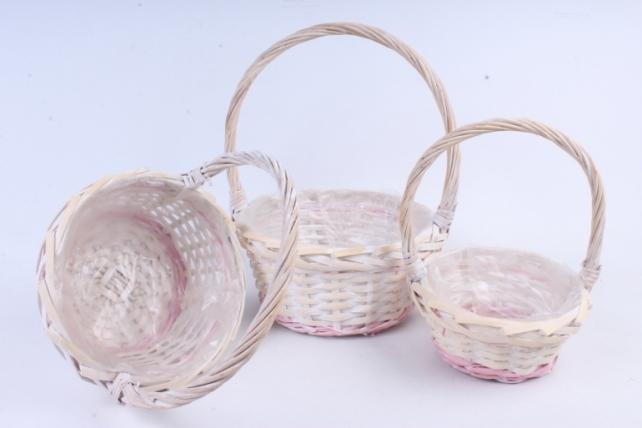 Набор корзин (из 3шт) плетеных (ива) Круг беленый с розовой полосой   КС-393