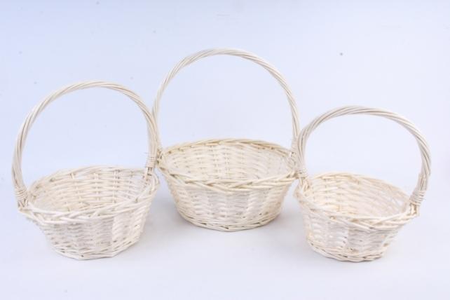 Набор корзин (из 3шт) плетеных (ива) Круг белый   КС-083