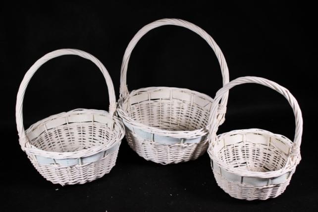 Набор корзин (из 3шт) плетеных (ива) Круг белый с бирюзой  D=33  H14*HH36см  КС-088