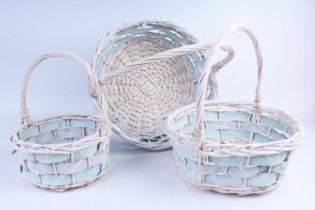 Набор корзин (из 3шт) плетеных (ива) Круг белый с салатовым  КС-087