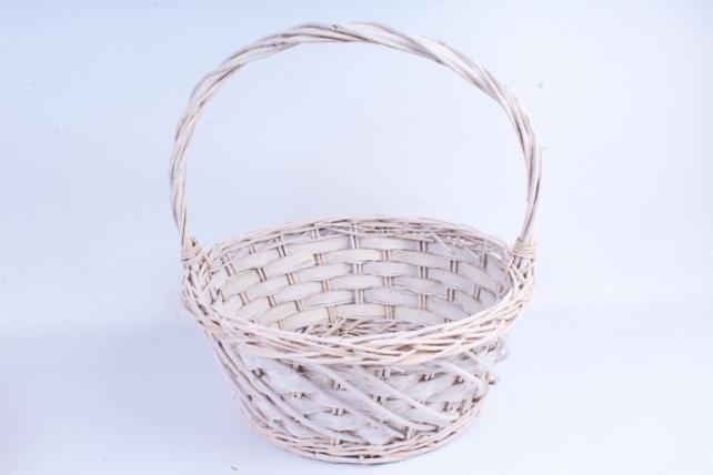 Набор корзин (из 3шт) плетеных (ива) Круг белый   КС-085