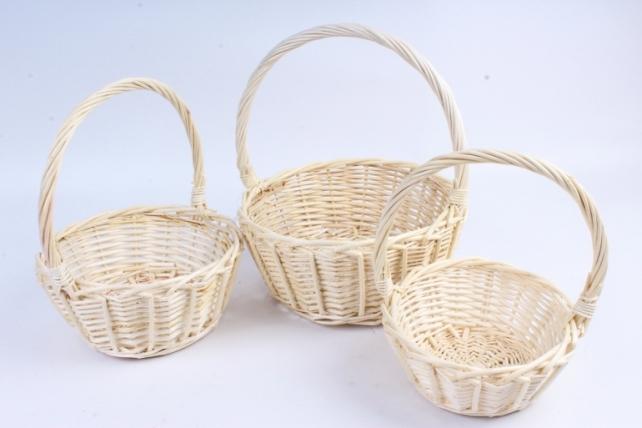 Набор корзин (из 3шт) плетеных (ива) Круг белый   КС-093