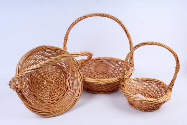 Набор корзин (из 3шт) плетеных (ива) Круг медовый   КС-387