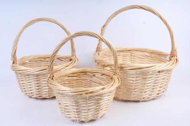 Набор корзин (из 3шт) плетеных (ива) Круг натуральный  D=42, H7*HH45см  КС-386