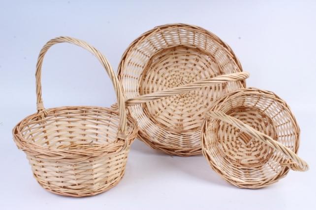 Набор корзин (из 3шт) плетеных (ива) Круг натуральный   КС-089