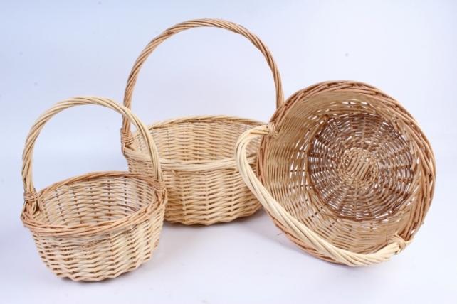Набор корзин (из 3шт) плетеных (ива) Круг натуральный   КС-092