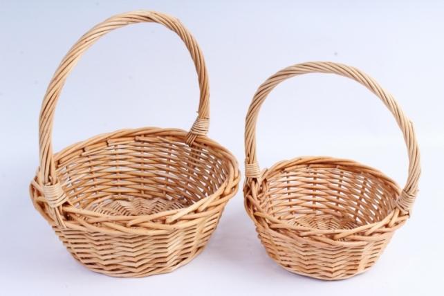 Набор корзин (из 2шт) плетеных (ива) Круг натуральный   КС-100