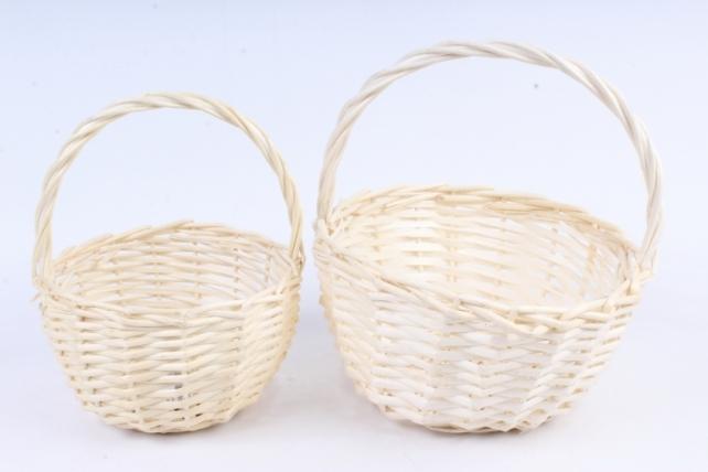 Набор корзин (из 2шт) плетеных (ива) Круг  белый   КС-085-1