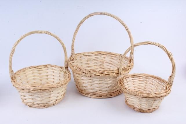 Набор корзин (из 3шт) плетеных (ива) Круг  натуральный  КС-080