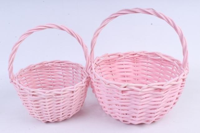 Набор корзин (из 2шт) плетеных (ива) Круг  розовый    КС-085-3