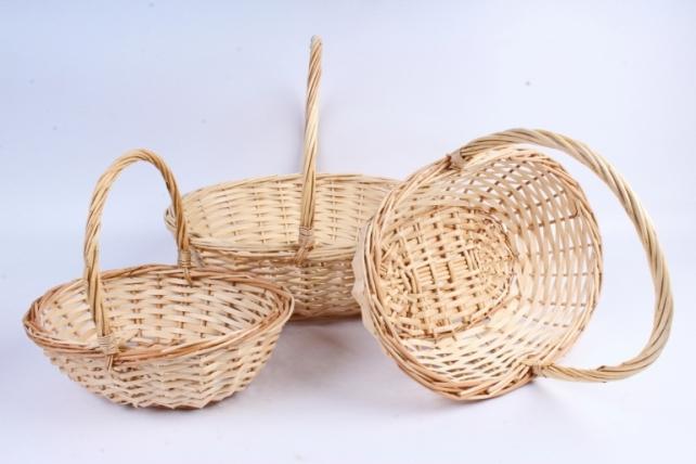Набор корзин (из 3шт) плетеных (ива) Овал натуральный    КС-094