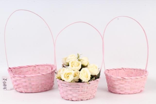 Набор корзин плетеных (бамбук) - 27х21х10/38 см, 3 шт., светло-роз.  0815