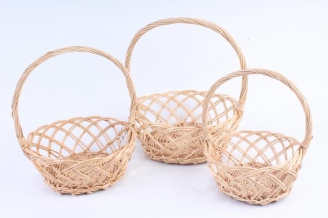 Набор корзин плетеных (ива) из 3 шт - Круг медовый ажурный   4995
