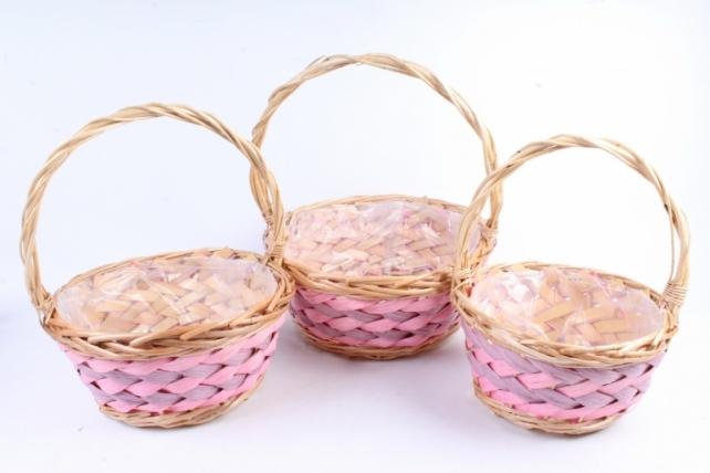 Набор корзин плетеных (ива) из 3-х шт - Круг натуральный 36*36H16*42 см  2731