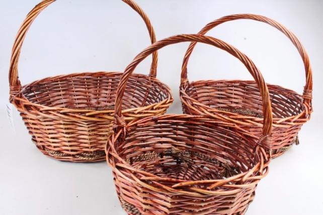 Набор корзин плетеных (ива) из 3шт - Круг  коричневый с декором  1047 (М)
