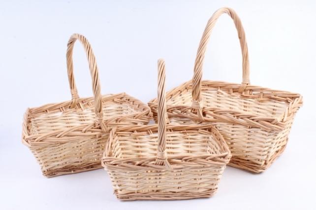 Набор корзин плетеных (ива) из 3шт - Прямоугольная медовая  2540