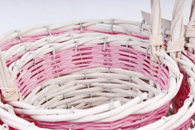 Набор корзин плетеных (ива) из 3шт - Круг белый с розовым 8566