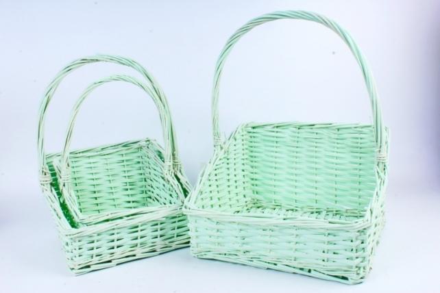 Набор корзин плетеных (ива) из 3шт - Зеленый 5886