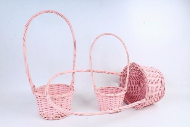 Набор корзин плетеных (ива) из 3шт - Круг  бледно-розовый  8757