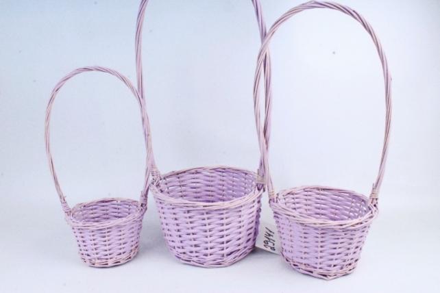 Набор корзин плетеных (ива) из 3шт - Круг  бледно-сиреневый  8627