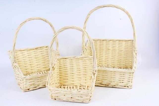 Набор корзин плетеных (ива) из 3шт -  Жёлтая 5893