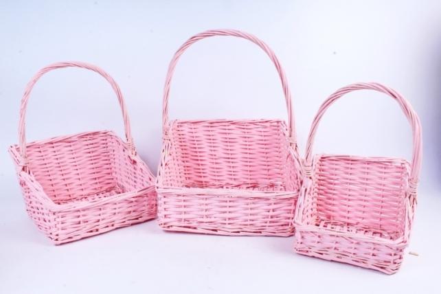 Набор корзин плетеных (ива) из 3шт -  Розовый 5879