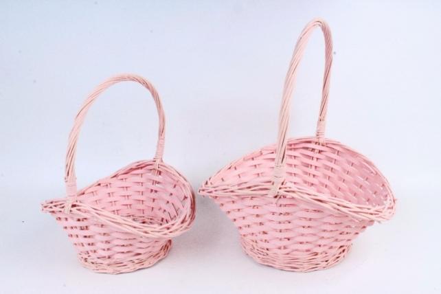 Набор корзин плетеных (ива) из 2шт - Овал  светло-розовый 8504