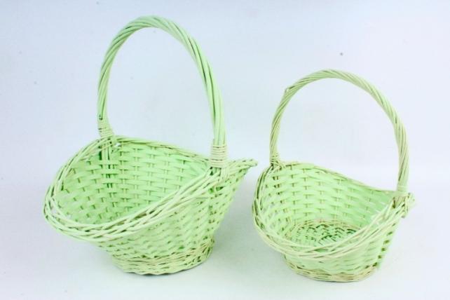 Набор корзин плетеных (ива) из 2шт - Овал   светло-зеленый  8498